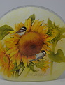 Chickadee & Sunflower Lighted Glass Disk