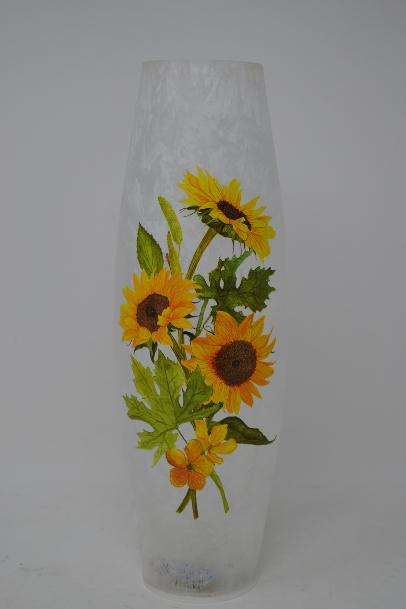 Battery-Operated Sunflower Glass Cylinder Light