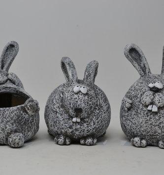 Playful Gray Rabbit Planter (3-Styles)