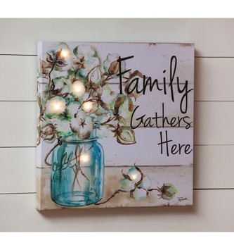 LED Family Gathers Here Cotton Canvas Print