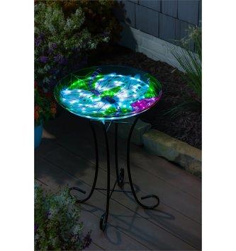 Solar LED Dragonfly Bird Bath with Stand