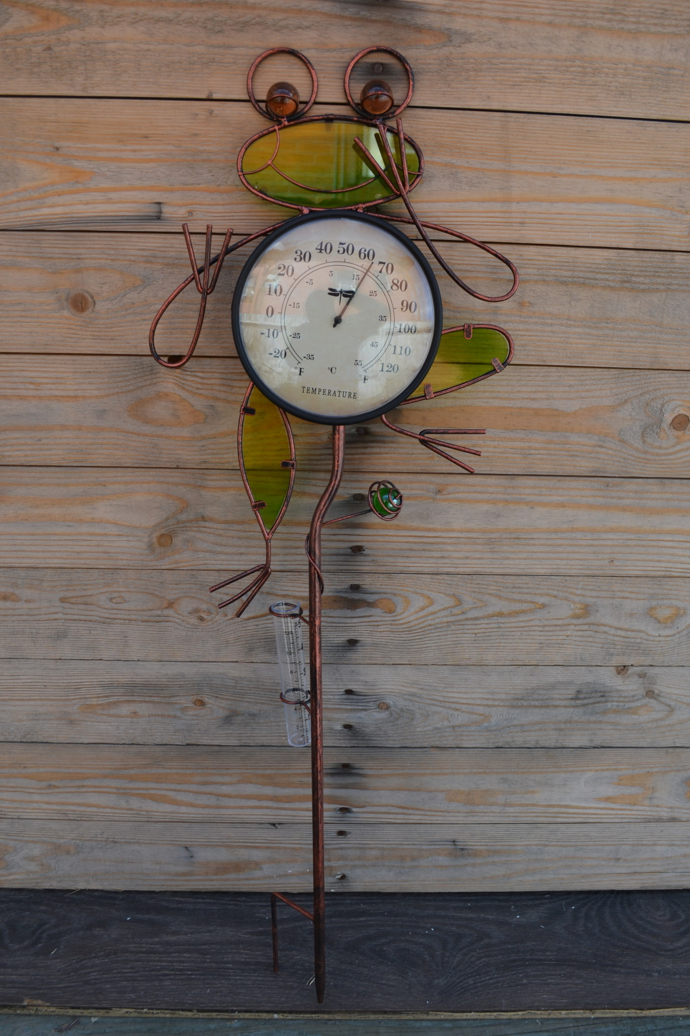 Frog Rain Gauge Thermometer Stake (3-Styles)
