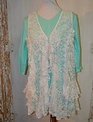 Ruffle Lace Vest With Pearl Button (2-Sizes)