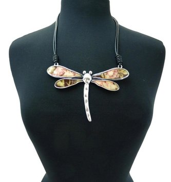 Floral Dragonfly Pendant Necklace