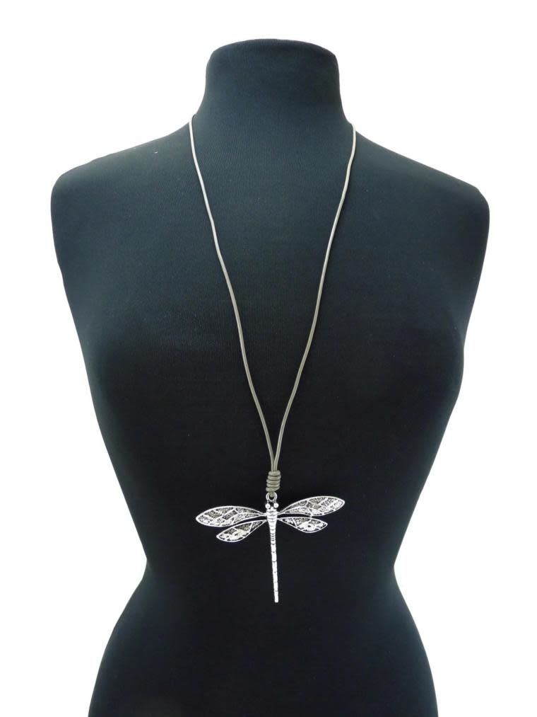 Textured Dragonfly Leather Necklace