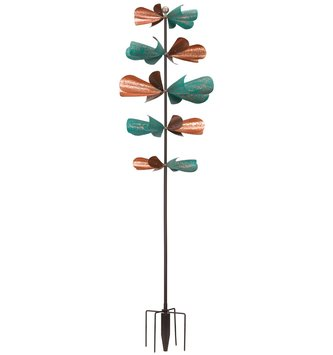 Teal & Copper Rustic Propellers Wind Spinner