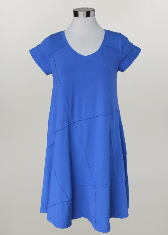 Stitched V-Neck A-Line Dress (2-Colors)