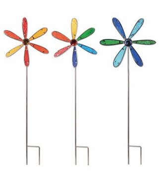 Embossed Glass Pinwheel Stake (2-Sizes)