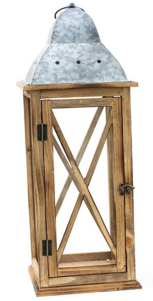 Natural Wooden Lantern with Tin Roof (2-Sizes)
