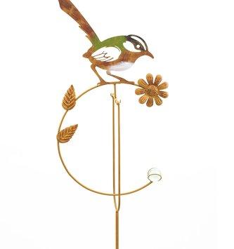 Balancing Metal Bird On Flower Stake