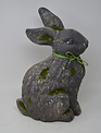 Sitting Mossy Stone Bunny with Bow