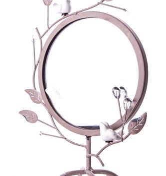 Round Metal Branch Mirror with Bird