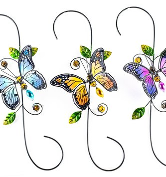 Glass Butterfly On Metal S-Hook (3-Colors)
