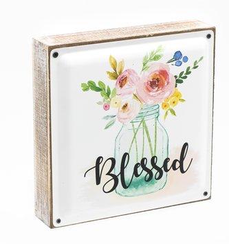 Blessed Enamel and Wood Mason Jar Sign
