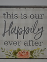 Happily Ever After Peony Block Sign
