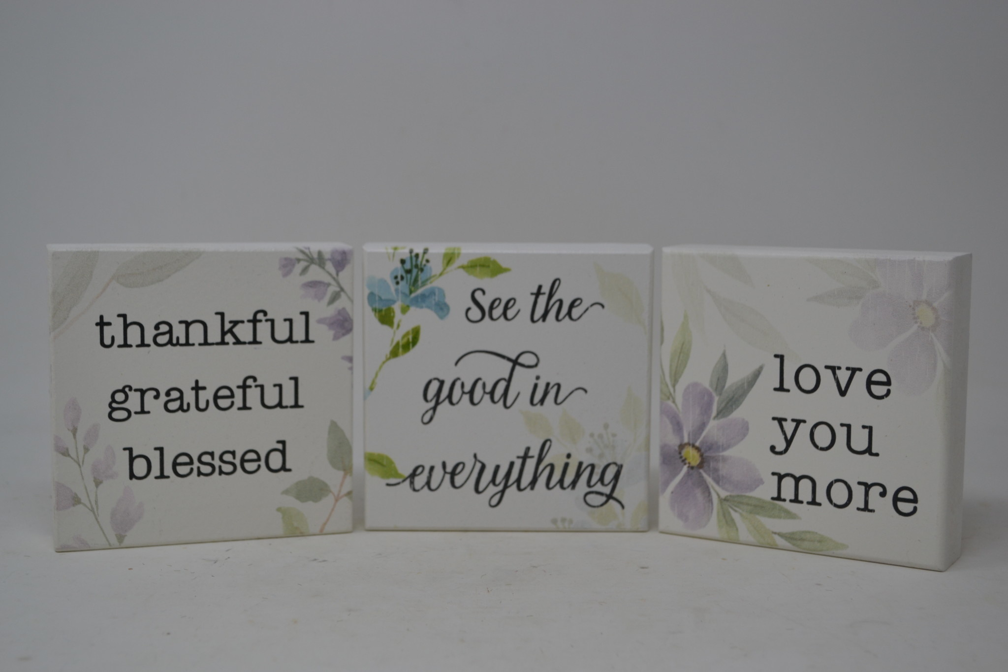 """4"""" Square Floral Block Sign (3-Styles)"""