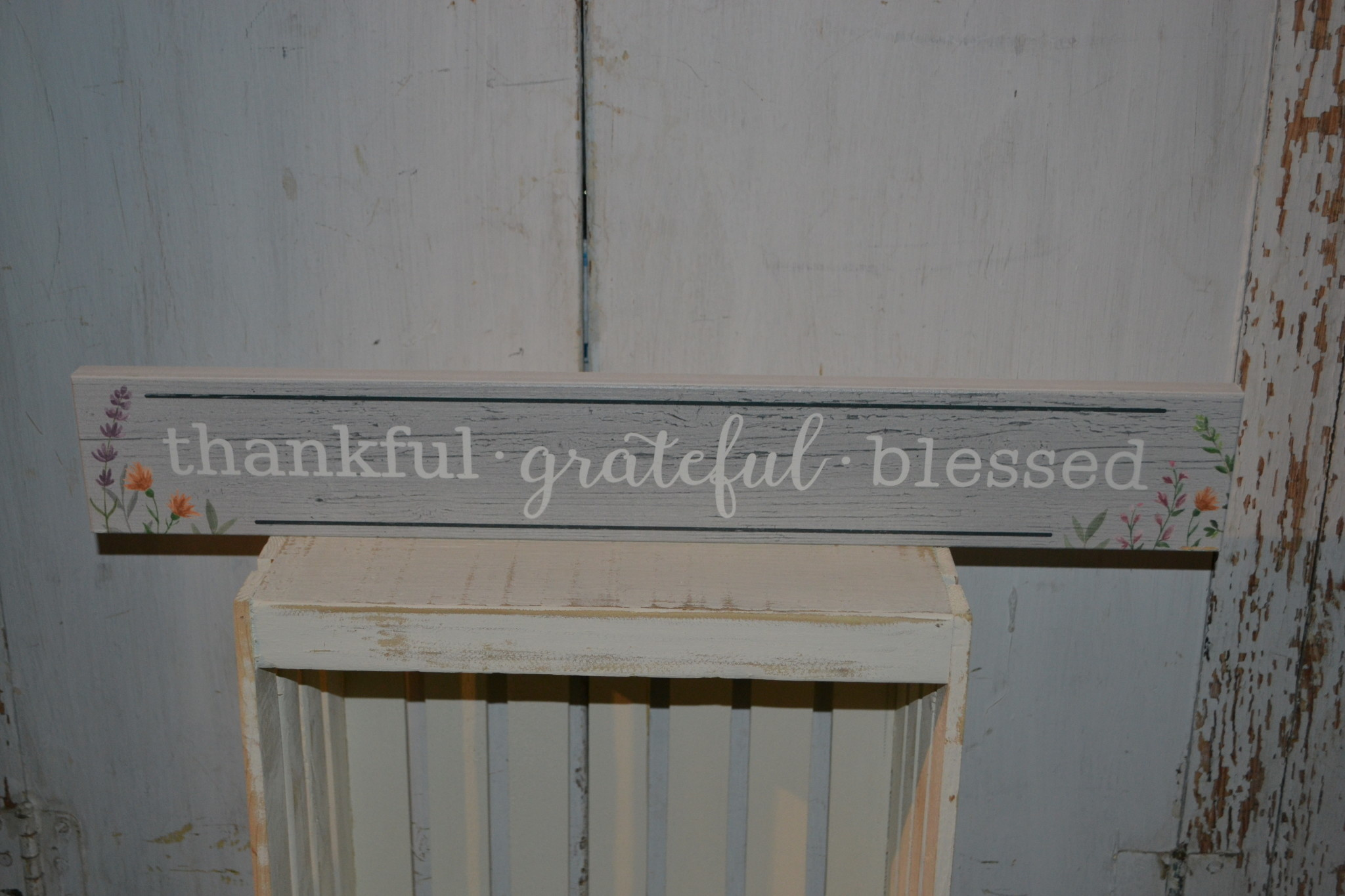 Thankful Grateful Blessed Gray Woodgrain Sign