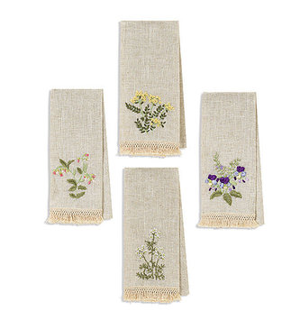 Wildflower Ribbon Fringed Tea Towel (4-Colors)