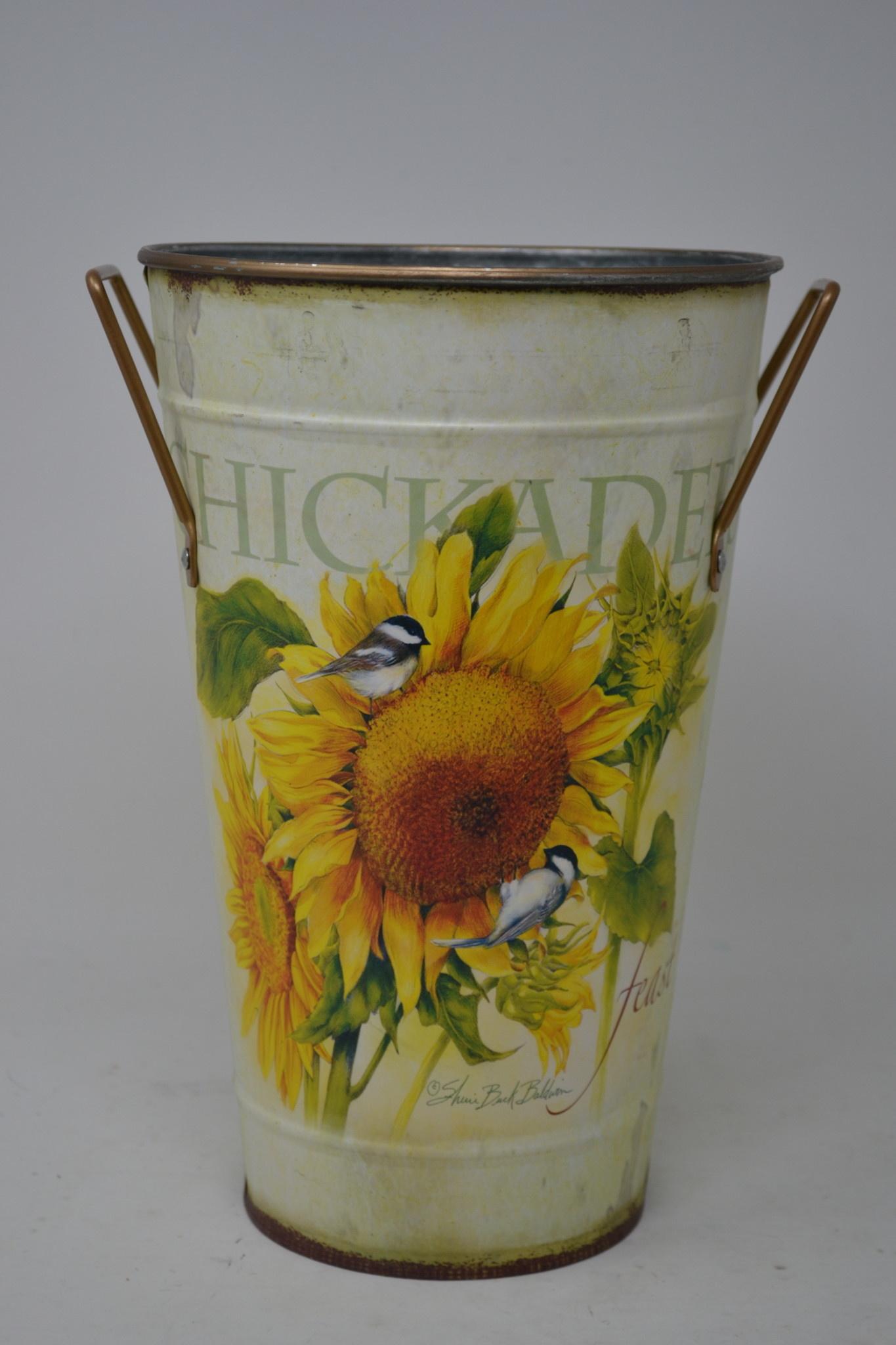 Chickadee and Sunflower Print Metal Bucket (3-Sizes)