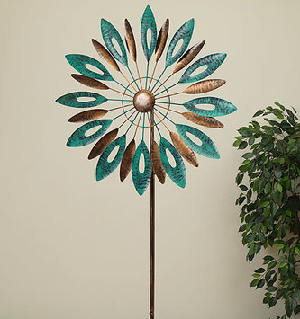Bronze and Teal Metal Leaf Wind Spinner