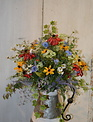 Custom Wildflower Galvanized Pitcher Arrangement