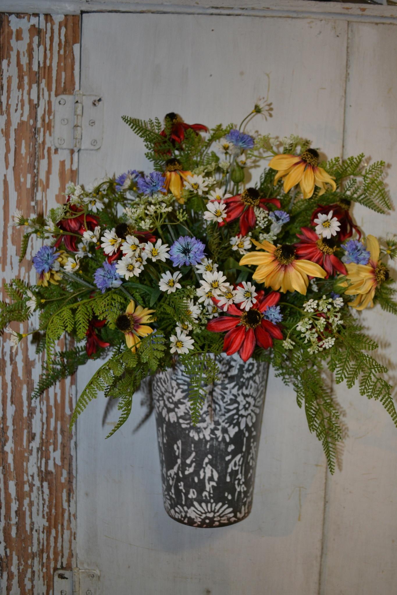 Custom Small Wildflower Wall Bucket Arrangement