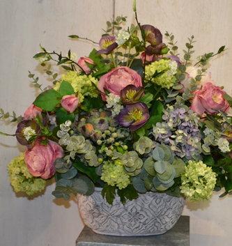 Custom Hellebores And Rose Arrangement