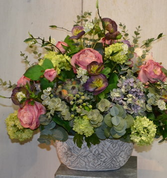 Custom Hellebores And Rose Arrangement