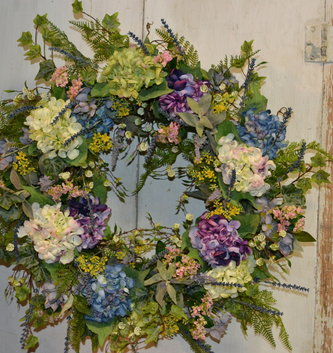 Custom Hydrangea In Bloom Wreath