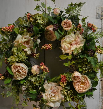 Rose and Green Hydrangea Wreath