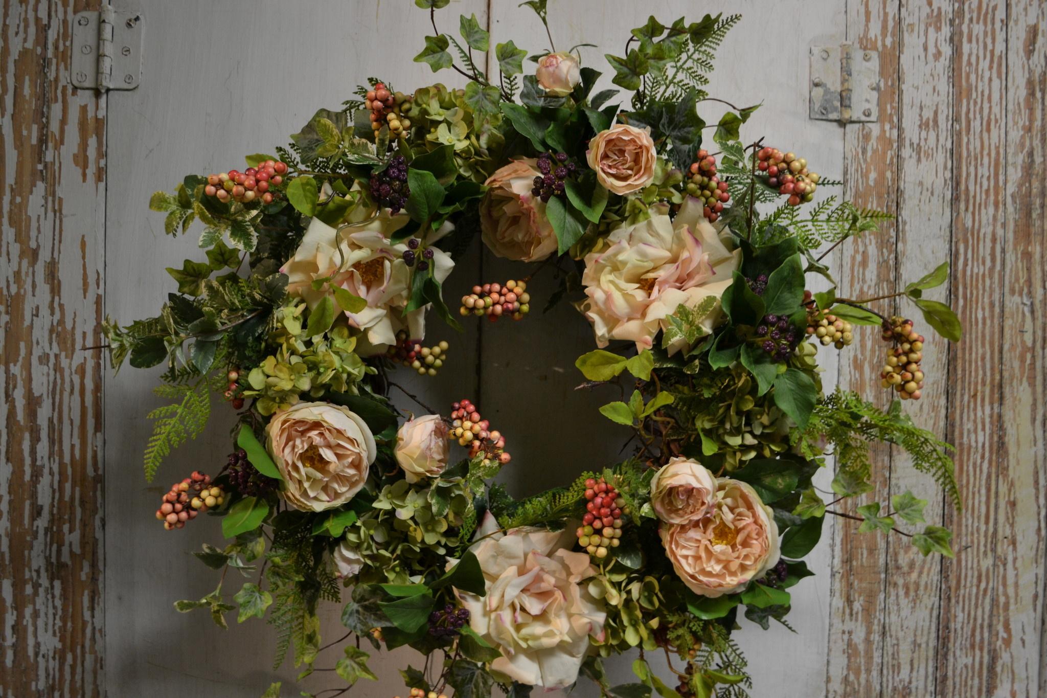 Rose and Green Hydrangea Wreath