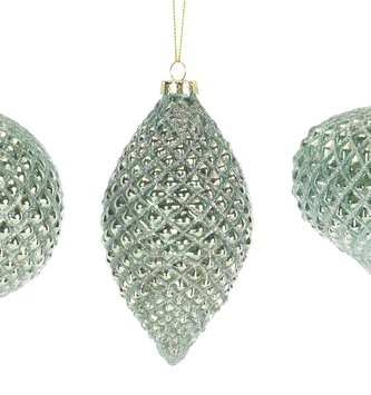 Glass Aqua Glitz Ornament (3 Styles)