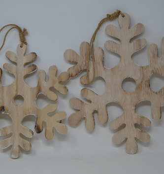 Hanging Wooden Snowflake (2 Sizes)