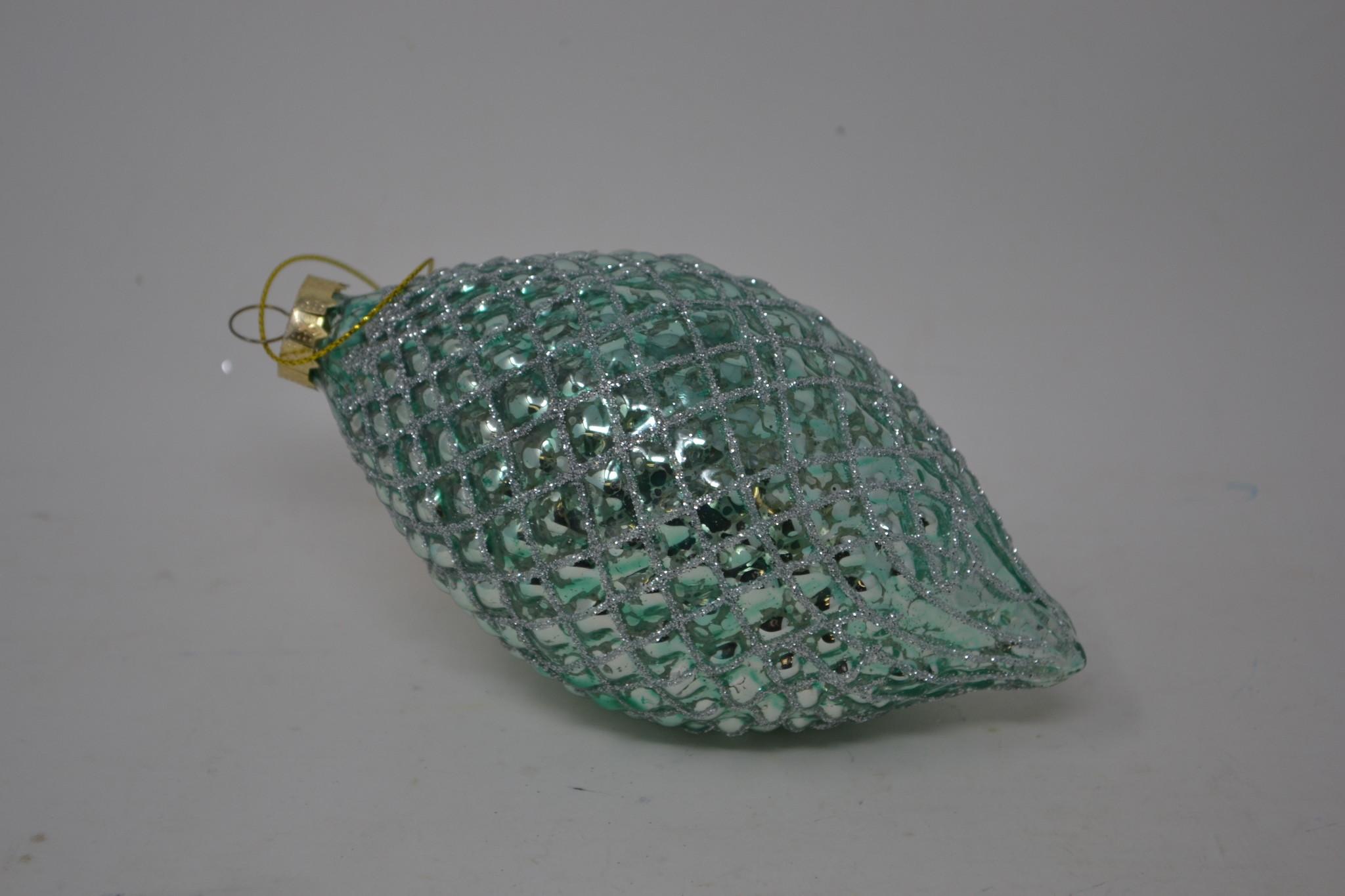 Glass Aqua Glitz Ornament (3 Styles)
