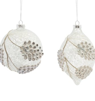 Snowed Pinecone Glass Ornament (2-Styles)