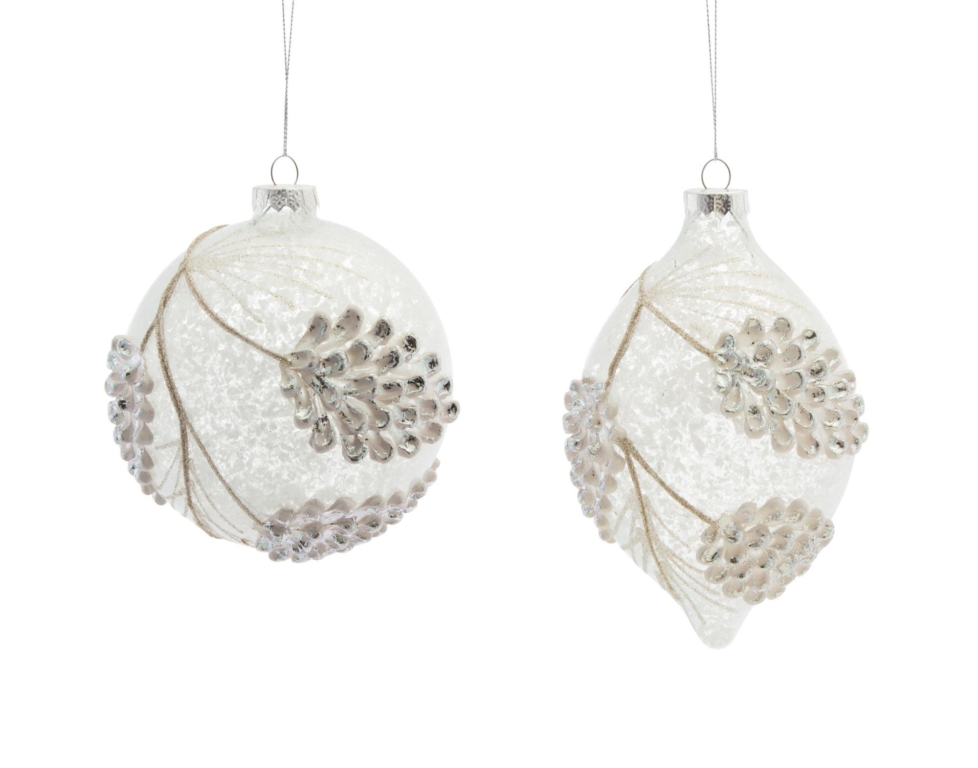 Snowed Pinecone Glass Ornament (2-Styles)