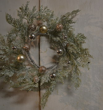 Small Glitz Cedar Ornament Wreath