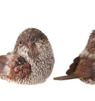 "5.5"" Woodland Sitting Sisal Bird (2-Styles)"