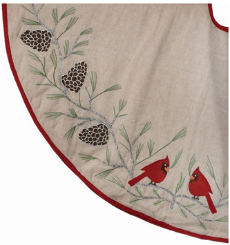 Embroidered Cardinals on Branch Tree Skirt