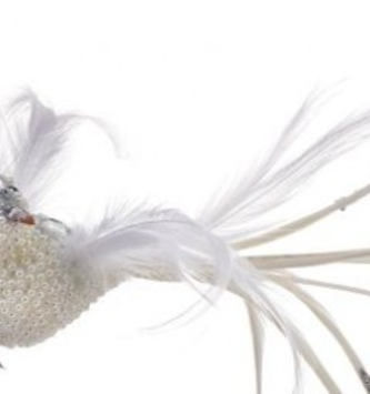 Clip-on Jeweled Pearl Feather Bird