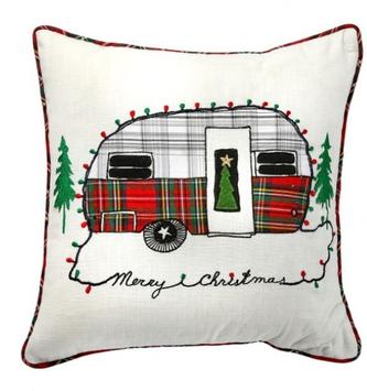 Plaid Christmas Camper Pillow