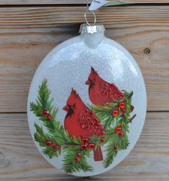 Oval Cardinal Pine Disk Ornament