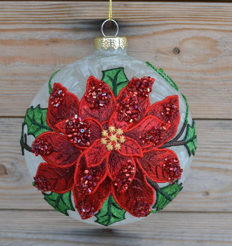 Embroidered Poinsettia Frost Ball Ornament