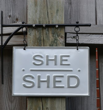 Wall-Mounted She Shed Enamel Sign
