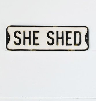 Rustic Black and White She Shed Sign