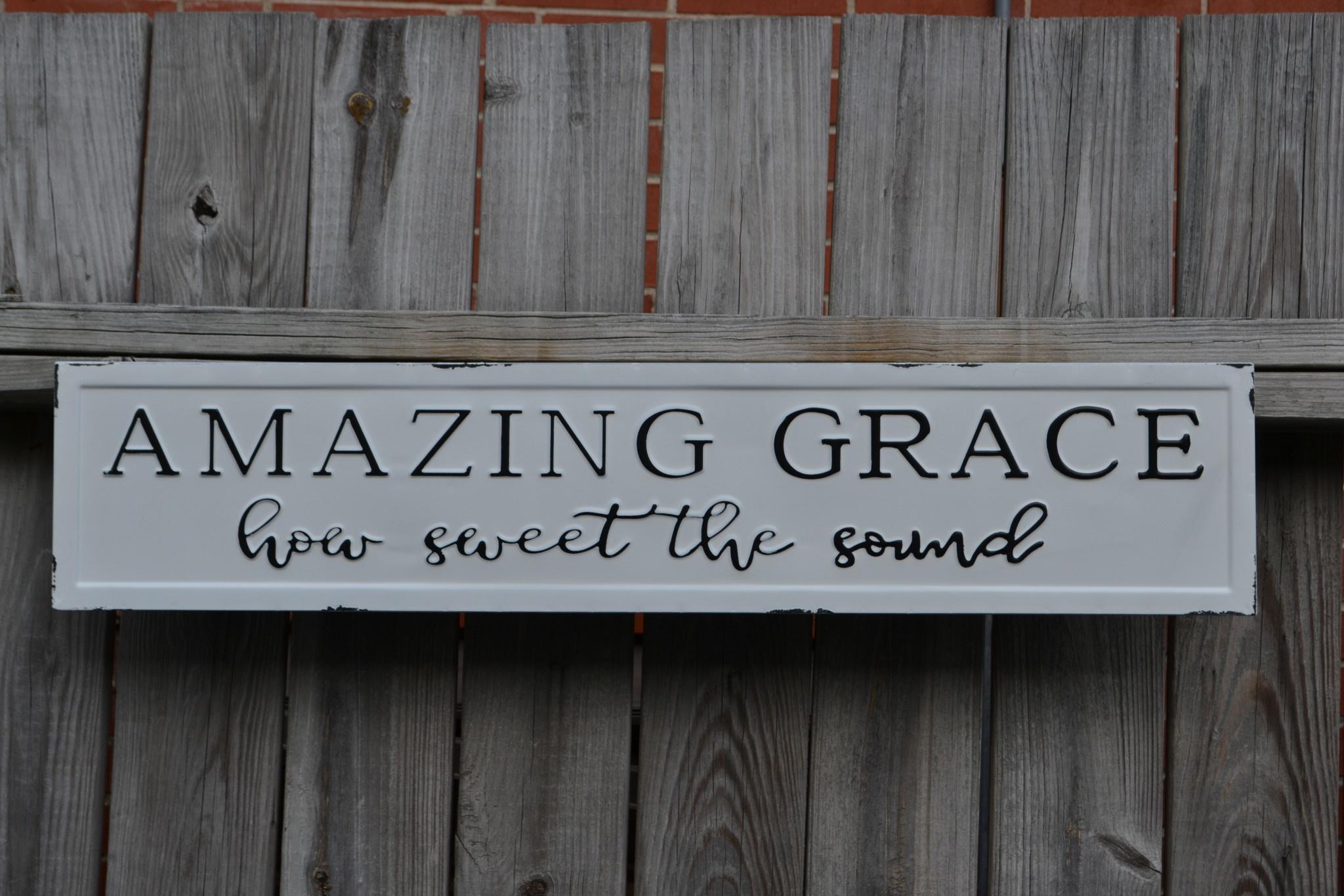 Horizontal Amazing Grace Black and White Sign