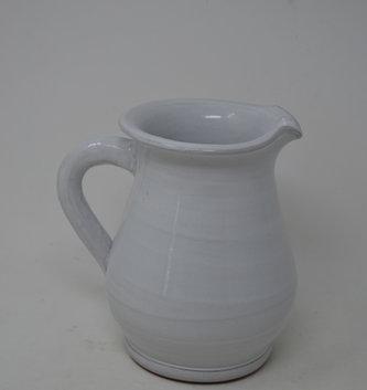 "7"" White Pottery Pitcher"