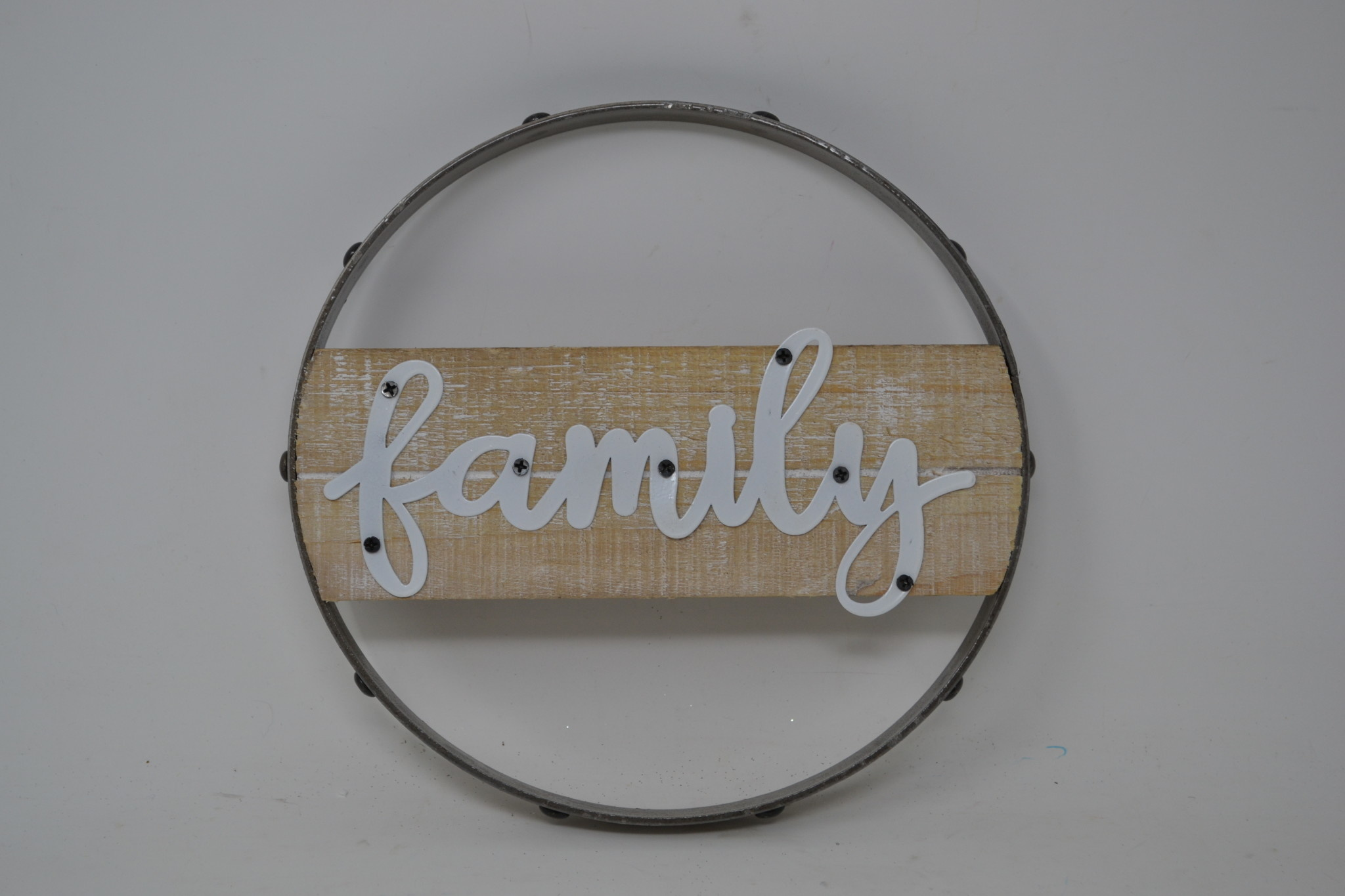 Round Wood and Tin Word Sign (3-Styles)
