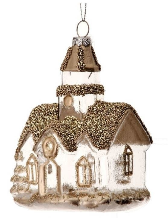 """5"""" Snow Filled Church Ornaments"""