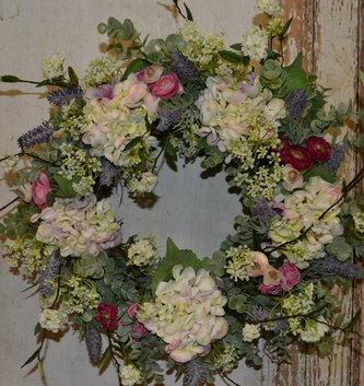Custom Pink Ranunculus and Hydrangea Wreath